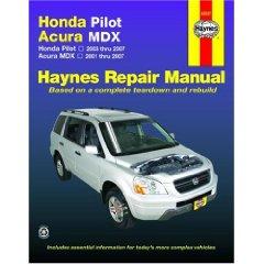 Show details of Honda Pilot Acura MDX: Honda Pilot - 2003 thru 2007 - Acura MDX - 2001 thru 2007 (Haynes Repair Manual) (Paperback).