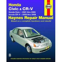 Show details of Honda Civic & CR-V: Honda Civic 2001 thru 2005; Honda CR-V 2002 thru 2006 (Haynes Repair Manual) (Paperback).